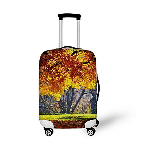 K Fall Maple Leaves Fashionable Baggage Suitcase Protector Travel Luggage Cover Anti-Scratch