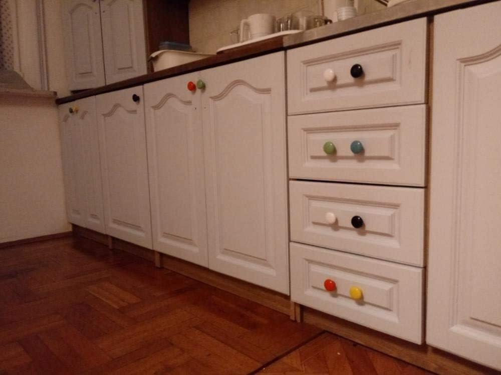 10Pcs Round Shape Ceramic Door Knob Dresser Drawer Locker Pull Handles Cupboard Cabinet Knobs with 3 Size Screws Blue