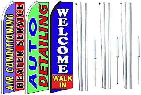 Car Wash King Windless Swooper Feather Flag Sign Kit with Complete Hybrid Pole Set Pack of 3