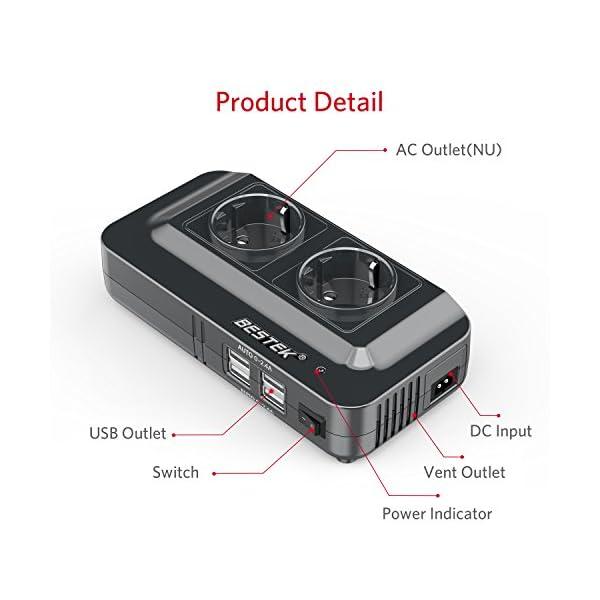 51VGiciiLtL BESTEK 200W KFZ Spannungswandler 12V auf 230V Wechselrichter mit 2 Steckdosen und 4 USB Autoladegerät inkl…