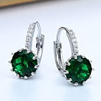 Siam panva Women Fashion 925 Silver Emerald Dangle Drop Huggie Earrings Wedding Jewelry New
