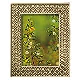 Grasslands Road Everyday Life Sterling Taupe Textile Leaf Ceramic Frame, 5 by 7-Inch