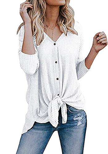 Imily Bela Womens Waffle Knit Tunic Blouse Tie Knot Henley Tops Bat Wing Plain Shirts White