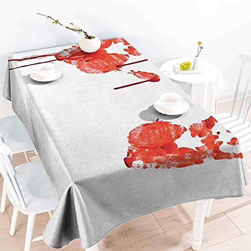 DILITECK Elegance Engineered Tablecloth Horror Handprint Like Wanting Help Halloween Horror Scary Spooky Flowing Blood Themed Print Excellent Durability W70 xL102 Red White