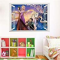 Cartoon Rapunzel Wall Stickers for Kids Rooms Children Girl's Room Decor adesivo de Parede Wall Decals 3D Window Sticker Poster