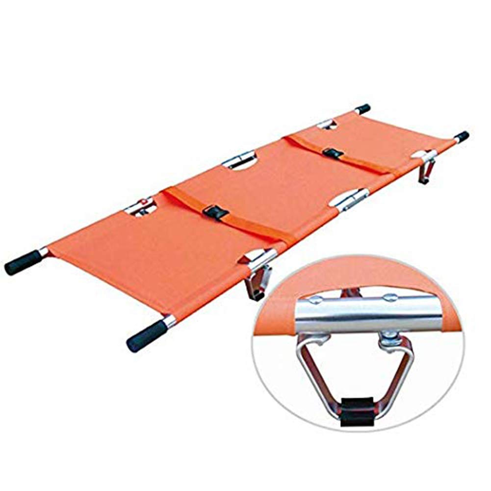 Medical Emergency Aluminum Folding Stretcher w/Handles & Carrying Case Strengthened Stretcher, for Hospital Clinic Home Sport, Orange by SHKY