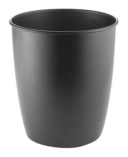 MDesign Round Metal Small Trash Can Wastebasket, Garbage Container Bin For  Bathrooms, Powder Rooms