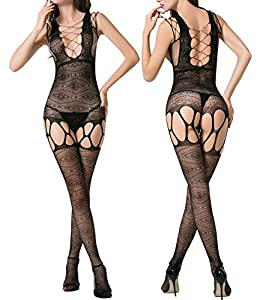 Fishnets Bodystockings Lingerie for Women Black Lace bodysuit High Stretchy Plus Size