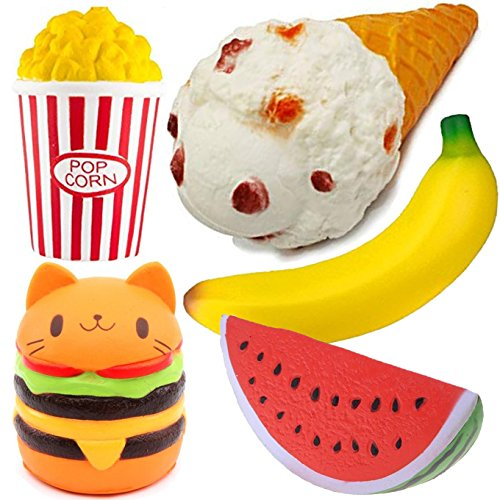 Funlop 5-Pack Squishy Toys Jumbo Kitten Hamburger, Ice cream cone, Banana, Watermelon, Popcorn Set - Kawaii Cream Scented Squishies Slow Rising Decompression Squeeze Toys for Kids or Stress Relief Toy by Funlop