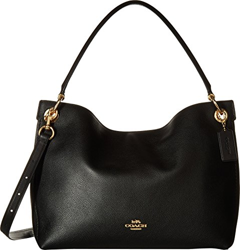 COACH Women's Polished Pebble Leather Clarkson Hobo Li/Black One Size