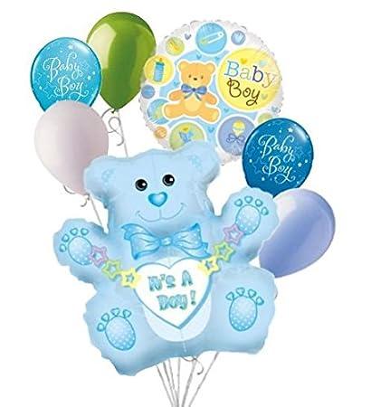 Amazon Com 7 Pc It S A Boy Blue Bear Balloon Bouquet Decoration