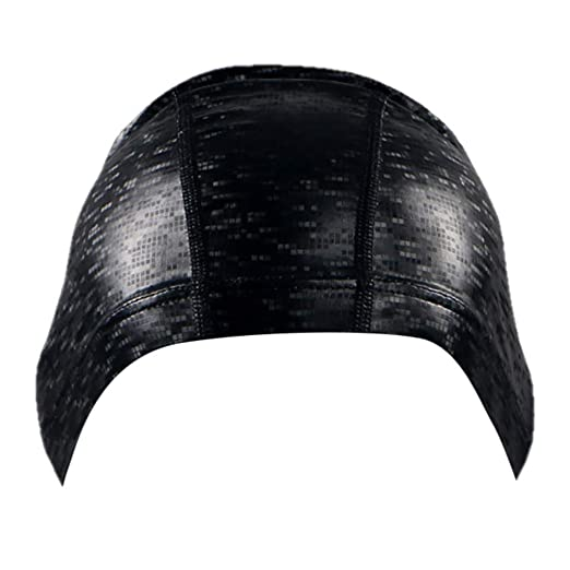 NEEKEY Adult Swimming Hat Durable Elastic Silicone Pool Beach Swim Head Cap  Summer (Black 1cf9e8fd0c4