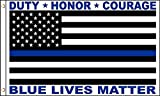 """Blue Lives Matter"" Thin Blue Line Police Memorial HONOR DUTY COURAGE 3 X 5 Flag 3'x5′ Fade Resistant Premium Quality Grommets Outdoor Poly Nylon Review"