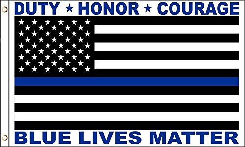 Blue Lives Matter Thin Blue Line Police Memorial HONOR DUTY COURAGE 3 X 5 Flag 3x5 Fade Resistant Premium Quality Grommets Outdoor Poly Nylon