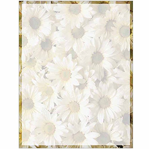 Daisy Design Paper (Full Daisies Print with Border Stationery Letter Paper - Floral Flower Theme Design - Gift - Business - Office - Party - School Supplies)