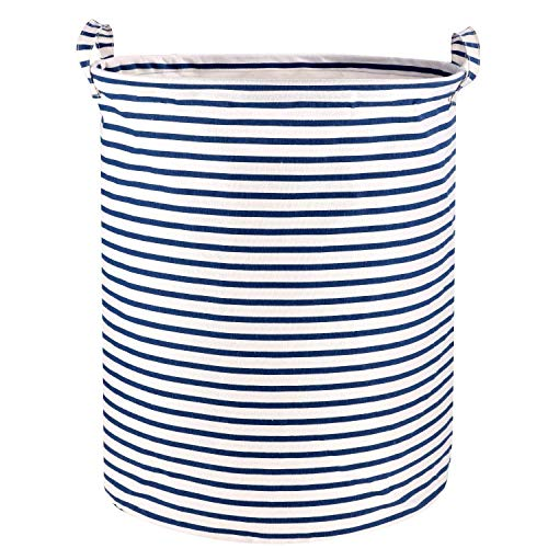 Wimaha Stripe Laundry Basket Laundry Foldable Large Hamper Cylinder Collapsible Kids for Clothes and Toys Organizer Storage Clothes Holder White Blue Striped Laundry Bag