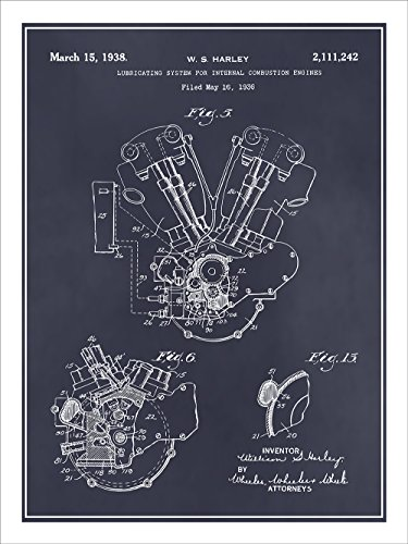 1936 Harley Davidson Knucklehead Engine Motorcycle Patent Print Art Poster Unframed Blackboard