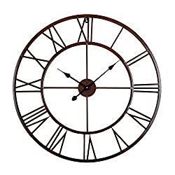 Utopia Alley Roman Round Clock, Distressed Finish, Metal, Oil Rubbed Bronze