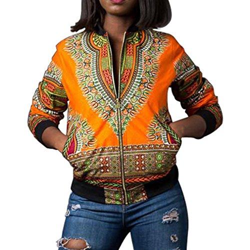 DAYLIN Chaquetas Mujer Otoño Casual Africano Impresión Abrigo de Manga Larga Amarillo