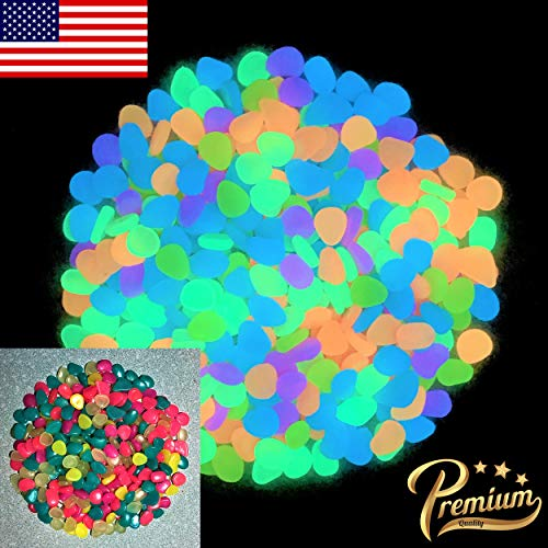 HIMI Store Premium Glow in The Dark Pebbles, 100 Colorful Glowing Stones - Perfect Glow Rocks for Garden, Potted Plant, Flower Bed, Fish Tank Aquarium, Decorative - Beds Flower Colorful