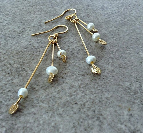 (Gold Drop Dangle earrings with white fresh water pearls. 14k Gold Filled young playful long earrings. (your choise of stone))