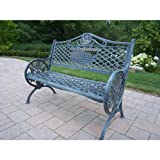 Cheap Oakland Living God Bless America Cast Aluminum Bench, Antique Verdi