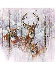 20 servetten voor de hertenfamilie | hert | winter | Kerstmis | tafeldecoratie 33 x 33 cm