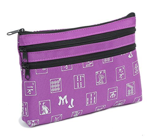 Mah Jongg Purple Logo Pattern 3 Zipper Mah Jong Purse for Mahjong Card