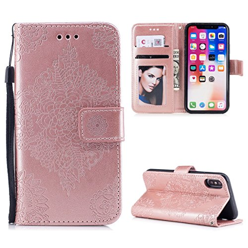 Funda iPhone X, WE LOVE CASE Piel y Tipo Cartera Carcasa Funda Flor iPhone X con Tapa Flip Wallet caso de Cuero Billetera Original Funda Que Se Pega con Ranura Para Tarjeta Card Holder y Stand Cierre  Rose Gold