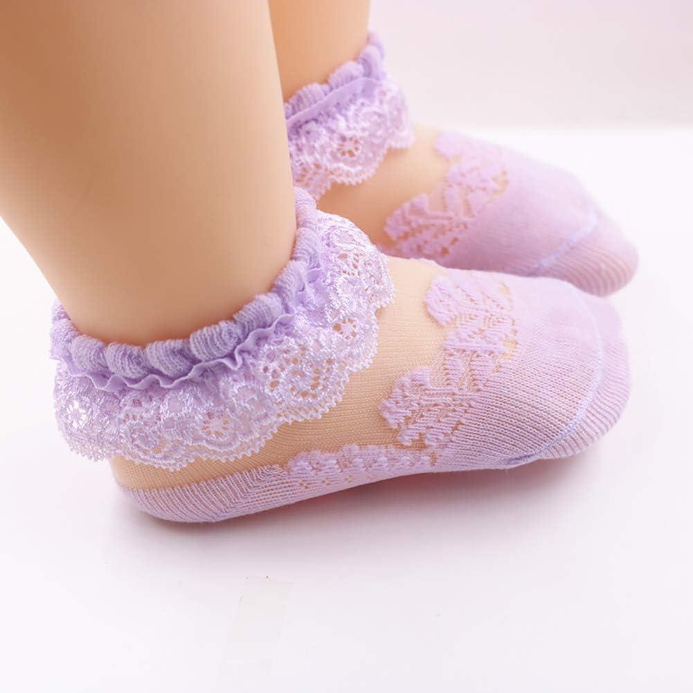 Ciujoy Baby Girls Socks 4 Pairs Lace Frilly Princess Mesh Thin Summer Stockings for 0-5 Year Toddler Kids