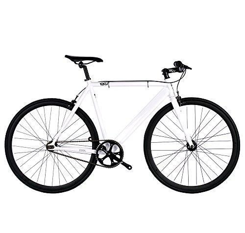 6KU Track Fixed Gear Bicycle, White/Black,