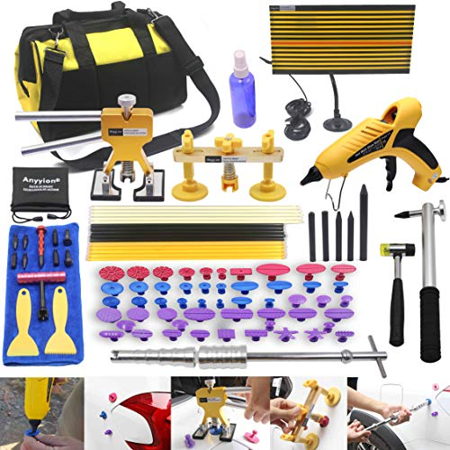 AI 92pcs Car Body Paintless Dent Repair Removal Tools, Auto Dent Puller Kit Automotive Door Ding Dent Silde Hammer Glue Puller Repair Starter Set Kits for Car Hail Damage and Door Dings Repair ()