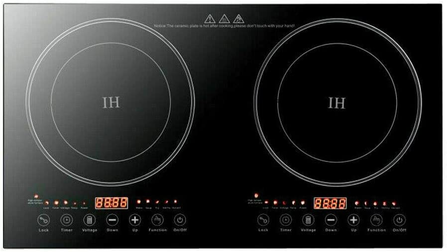 Electric Induction Cooker, Portable Double Cooktop Stove Burner 2400W/2600W Countertop Touch Induction Hot Plate Cooking Stoves Burners (1200W+1200W)