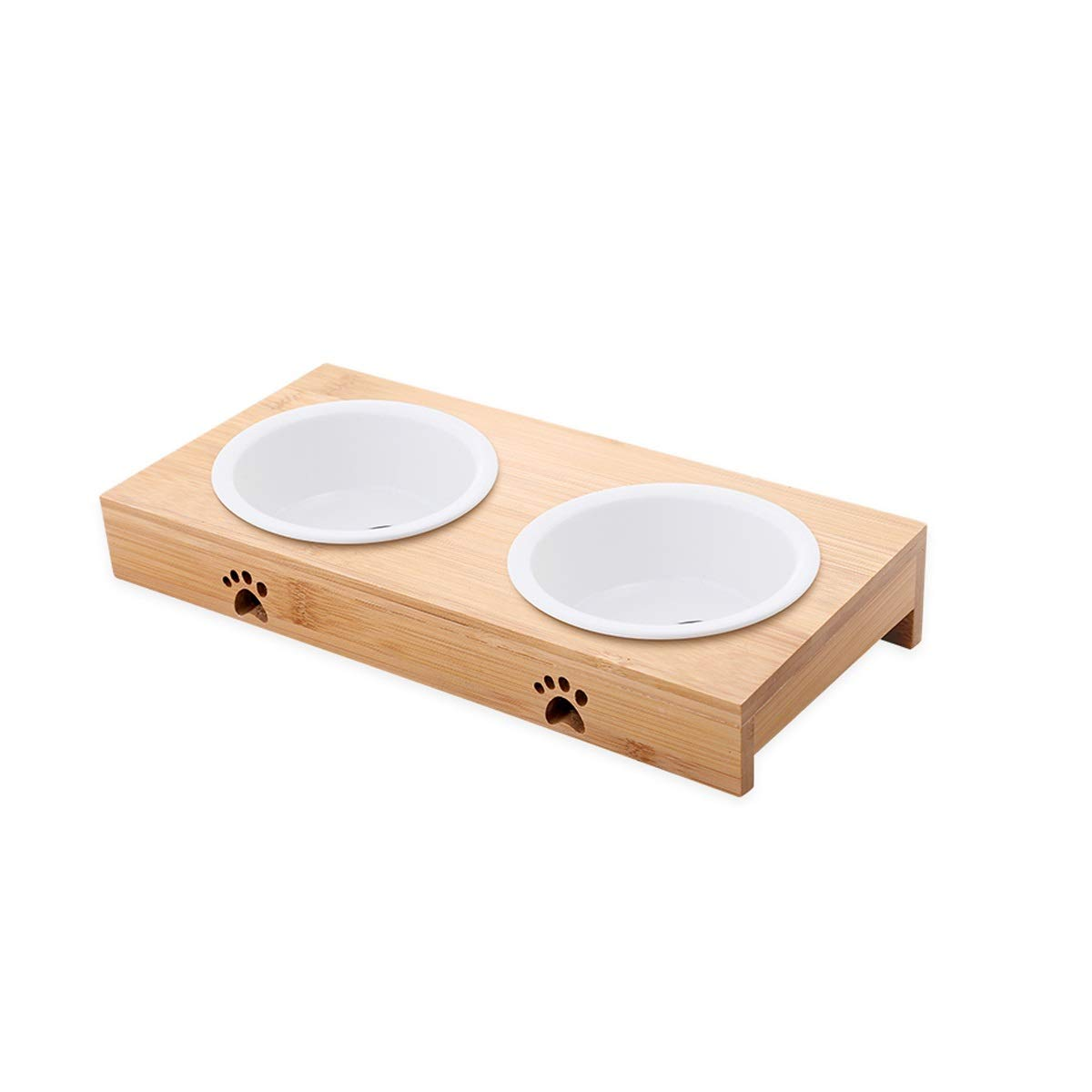 Ceramics B Ceramics B Cat Bowl Dog Bowl Double Bowl Bamboo Frame Stainless Steel Ceramic Double Bowl Bamboo Frame Size 29.3  13.8  5cm (color   Ceramics, Edition   B)