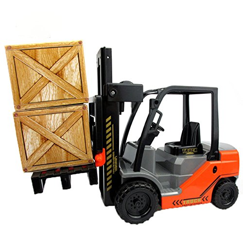 Lanshowed Toy Forklift with 1 Pallet and 2 Paper Box Friction Powered Vehicle Games for Kids - Forklift Truck Attachments