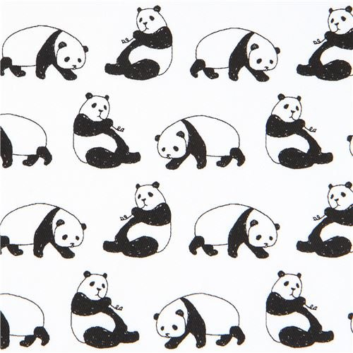 Off-white twill panda bear animal fabric from Japan (per 0.5 yard unit) - Panda Bear Fabric