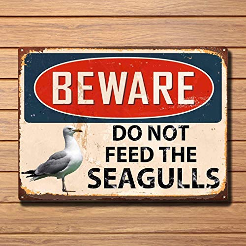 Beware Do Not Feed The Seagulls Metal Sign Wall House Beach Seafront Plaque Vintage Metal Tin Sign Retro Tin Plate Sign Wall Art Decor TIN Sign 7.8X11.8 INCH