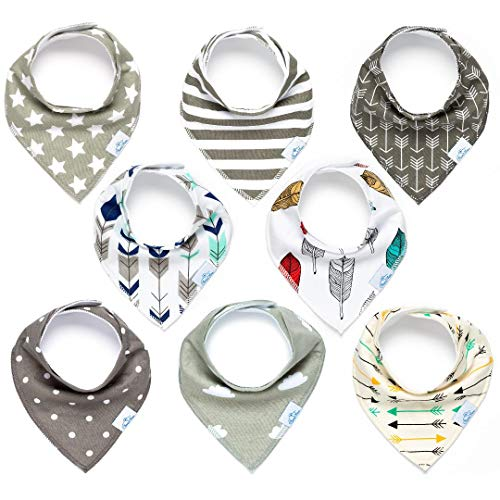 Baby Bandana Bibs for Boys or Girls by CleverMom - Unisex 8-