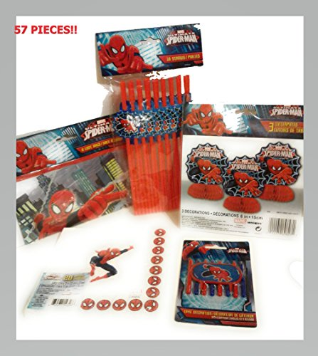 Marvel's Amazing Spider-man - Epic Party Supply & Decorations Kit Includes Spider-man Themed Centerpieces, Treat Bags, Birthday Cake Candles, Straws, & Napkins (58 Pieces)