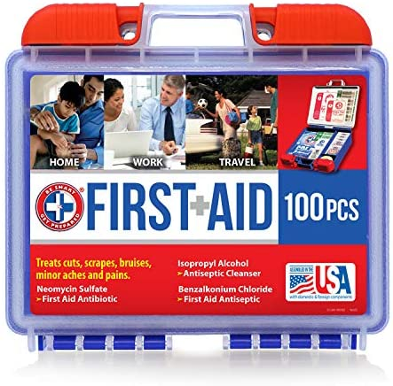Be Smart Get Prepared 10HBC01082 100Piece First Aid Kit, Clean, Treat & Protect Most Injuries With The Kit this is nice for Any Home, Office, Vehicle, Camping & Sports. 0.71 Lb