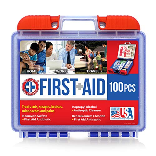- Be Smart Get Prepared 100 Piece First Aid Kit, Clean, Treat and Protect Most Injuries with The kit That is Great for Any Home, Office, Vehicle, Camping and Sports. 0.71 Pound