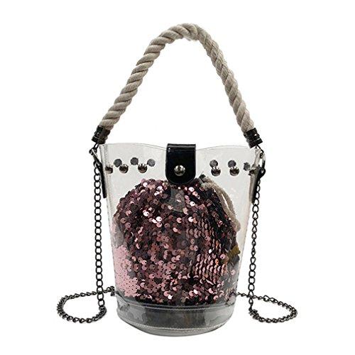 UKEDKC 2Pcs Women's Pvc Clear Transparent Bucket Bag Sequin Wallet Hemp Rope Chain Shoulder Bag Designer Pink