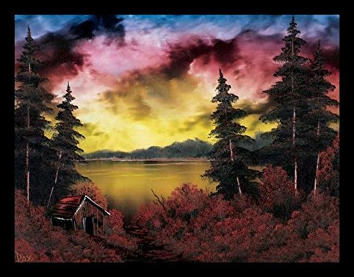 Buyartforless Framed Mistakes Landscape Painting by Bob Ross 24x18 Art Print Poster The Joy of Painting