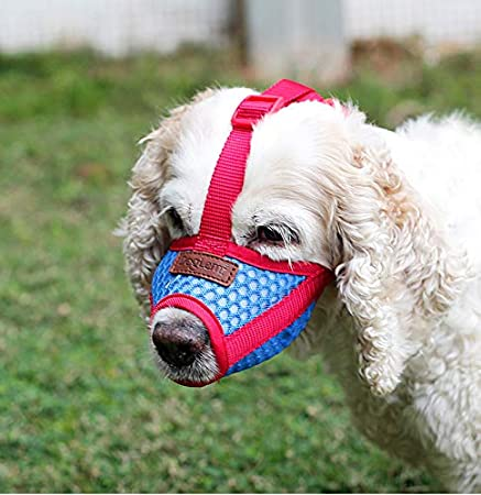 M BbearT/® Dog Muzzles,Soft Pet Mouth Cover Anti-Biting Anti-Barking Licking Air Mesh Adjustable Dog Muzzle for Small Dogs Medium Dogs