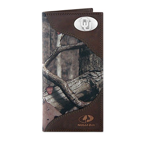 NCAA Oklahoma Sooners Zep-Pro Mossy Oak Nylon and Leather Secretary-Style Roper Concho Wallet, Camouflage, One Size