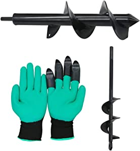 """AmazeFan Solid Shaft Auger Drill Bit for Planting - Easy Planter Garden Auger with Garden Genie Gloves- Bulb & Bedding Plant Augers - Posthole Digger for 3/8"""" Hex Drive Drill (2"""" x 9"""" + 3"""" x 12"""")"""