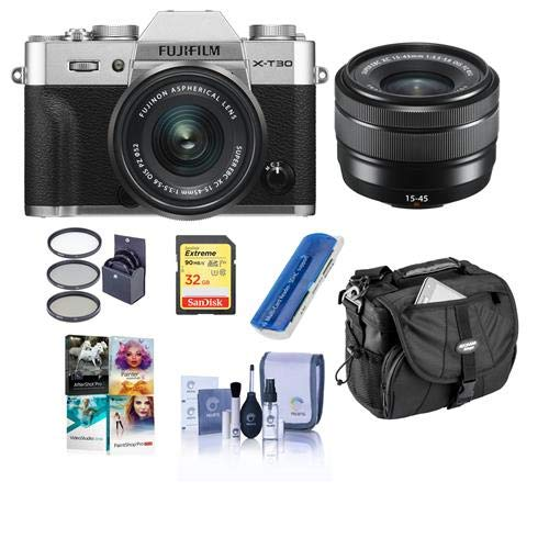 Fujifilm X-T30 Mirrorless Camera with XC 15-45mm f/3.5-5.6 OIS PZ Lens Silver – Bundle with Camera Case, 32GB U3 SDHC Card, Cleaning Kit, Card Reader, 52mm Filter Kit, PC Software Package