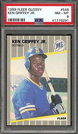 bd90a3586c 1989 fleer glossy #548 KEN GRIFFEY JR seattle mariners rookie card PSA 8  Graded Card