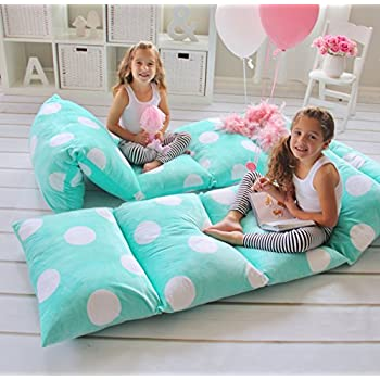 GIRL'S FLOOR LOUNGER SEATS COVER AND PILLOW COVER MADE OF SUPER SOFT, LUXURIOUS PREMIUM PLUSH FABRIC - PERFECT READING AND WATCHING TV CUSHION - GREAT FOR SLEEPOVERS AND SLUMBER PARTIES