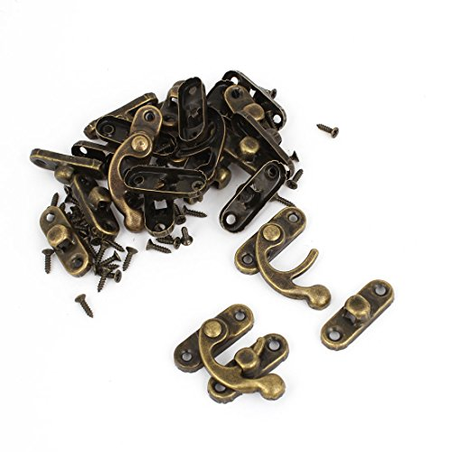 Uxcell Right Latch Hook Antique Wood Box Hasp Catch Decor, Bronze Tone, 20-Piece